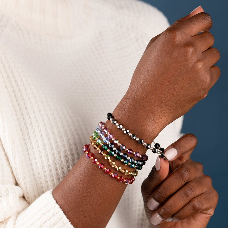 Crystal Stretch Bracelet, Burgundy