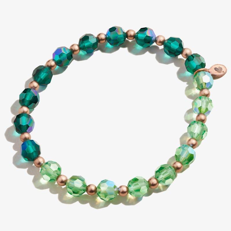 Crystal Stretch Bracelet, Emerald, Rafaelian Rose Gold, Alex and Ani