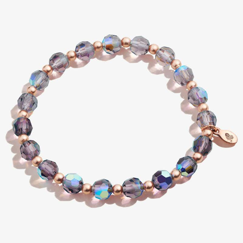 Crystal Stretch Bracelet, Plum, Rafaelian Rose Gold, Alex and Ani