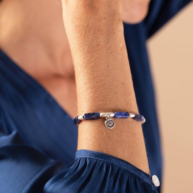 Evil Eye Charm + Sodalite Stretch Bracelet