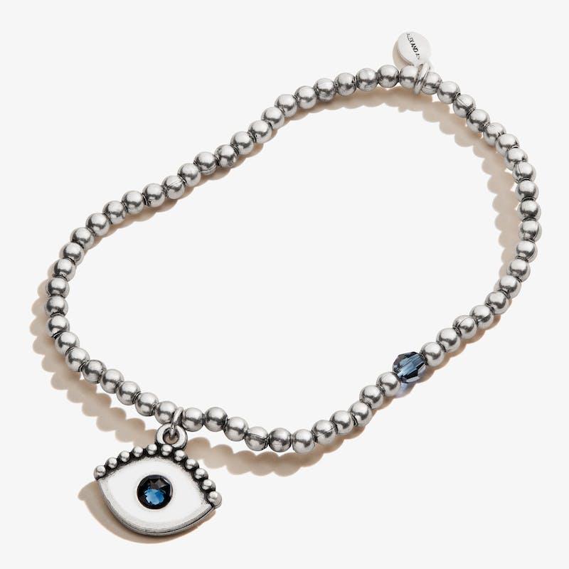 Evil Eye Crystal Charm Beaded Stretch Bracelet