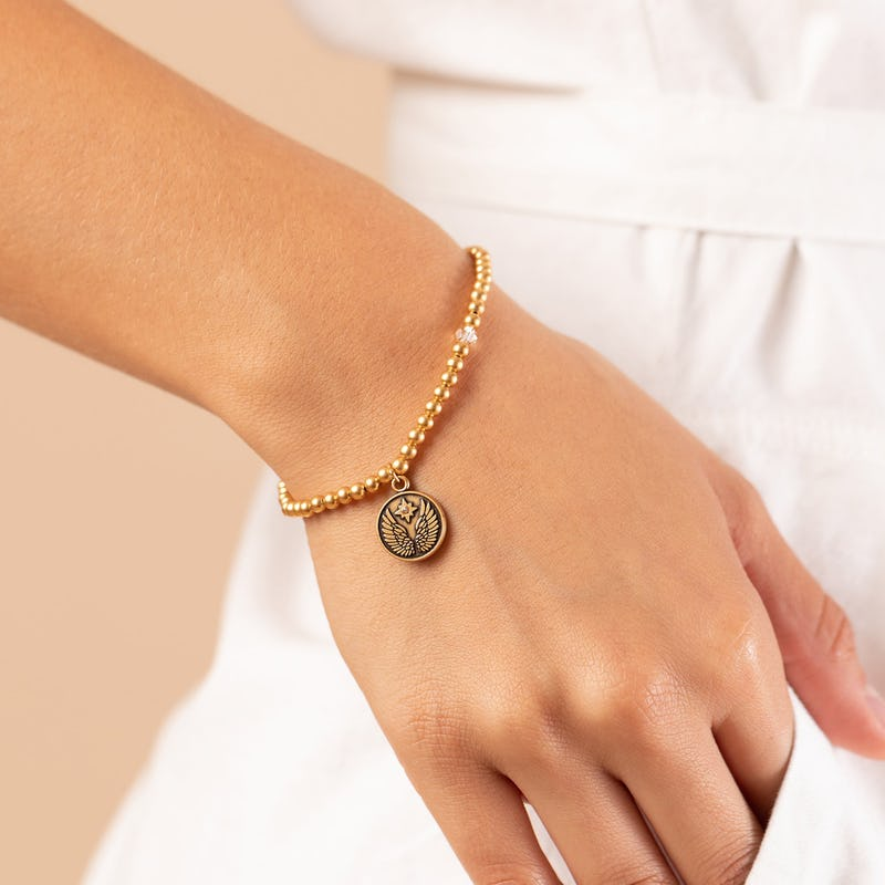 Guardian Angel Crystal Charm Beaded Stretch Bracelet