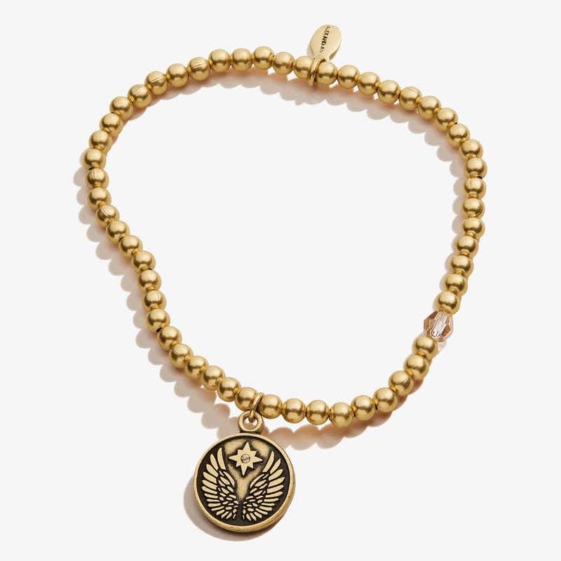 Guardian Angel Crystal Charm Beaded Stretch Bracelet, Rafaelian Gold, Alex and Ani