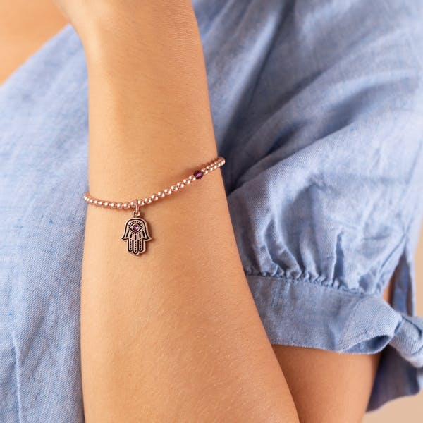 Hamsa Crystal Charm Beaded Stretch Bracelet