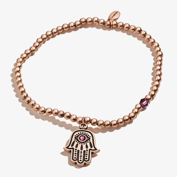 Hamsa Crystal Charm Beaded Stretch Bracelet, Rafaelian Rose Gold, Alex and Ani