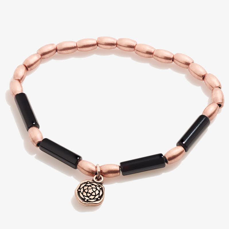 New Beginnings Charm + Onyx Stretch Bracelet
