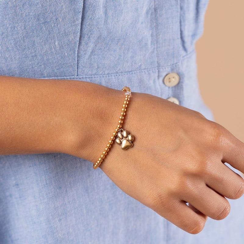 Paw Prints of Love Crystal Charm Stretch Bracelet