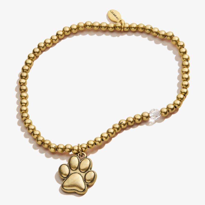 Paw Prints of Love Crystal Charm Stretch Bracelet, Rafaelian Gold, Alex and Ani
