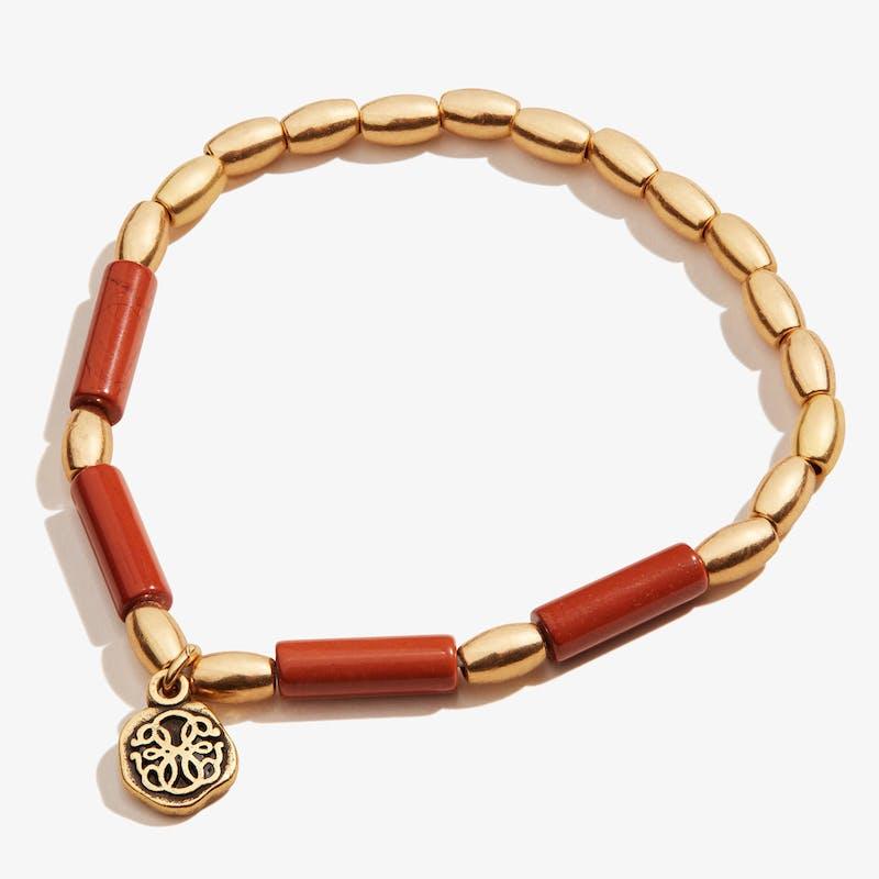 Path of Life® Charm + Red Jasper Stretch Bracelet, Rafaelian Gold, Alex and Ani