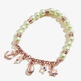 Pastel Green Pearl + Sea Charm Stretch Bracelet