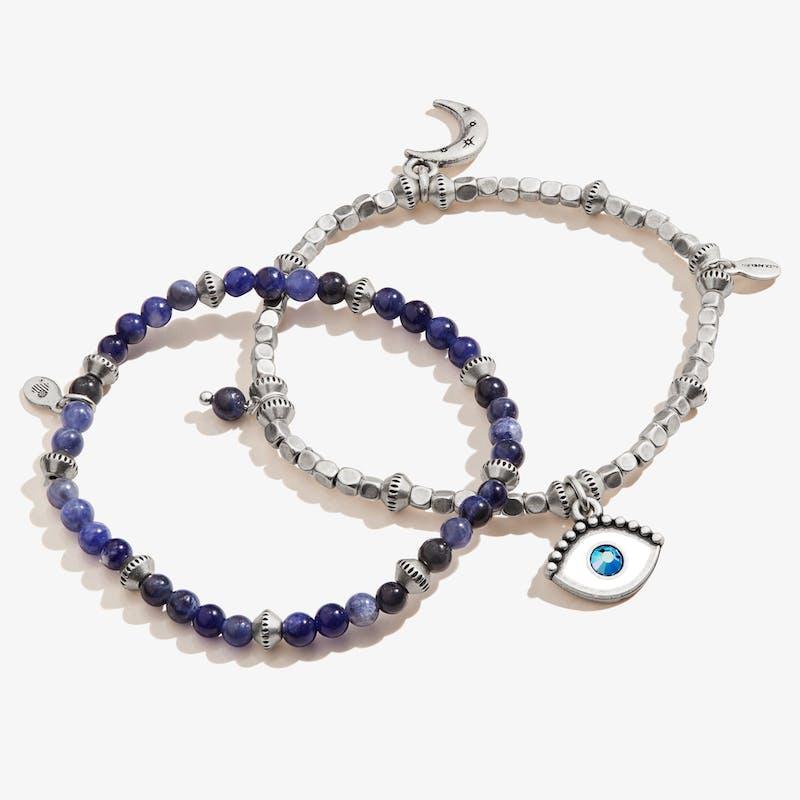 Evil Eye Charm Beaded Stretch Bracelets, Set of 2