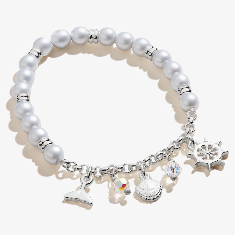 Pastel Blue Pearl + Sea Charm Stretch Bracelet