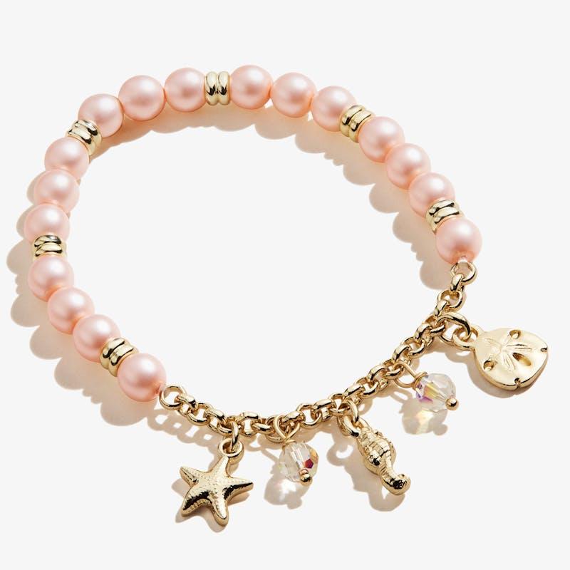 Pastel Pink Pearl + Sea Charm Stretch Bracelet