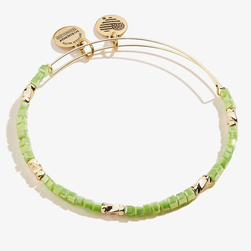 Pear Green Vibrancy Beaded Bangle, Shiny Gold, Alex and Ani