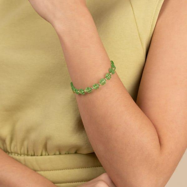 Daisy Beaded Charm Bangle, Pear Green