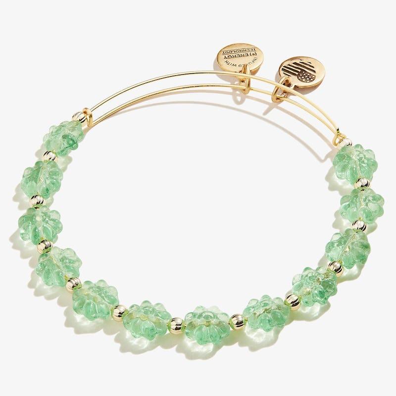 Pear Green Daisy Beaded Charm Bangle, Shiny Gold, Alex and Ani