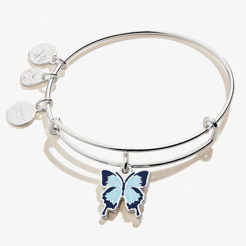 Blue Swallowtail Butterfly Charm Bangle, Shiny Silver, Alex and Ani