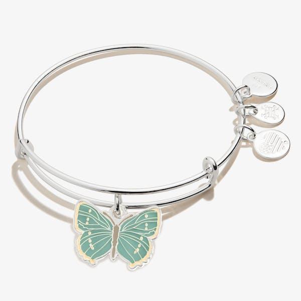 Green Hairstreak Butterfly Charm Bangle