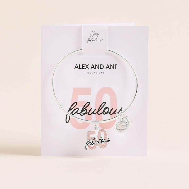 'Fabulous 50' Charm Bangle, Shiny Silver, Alex and Ani