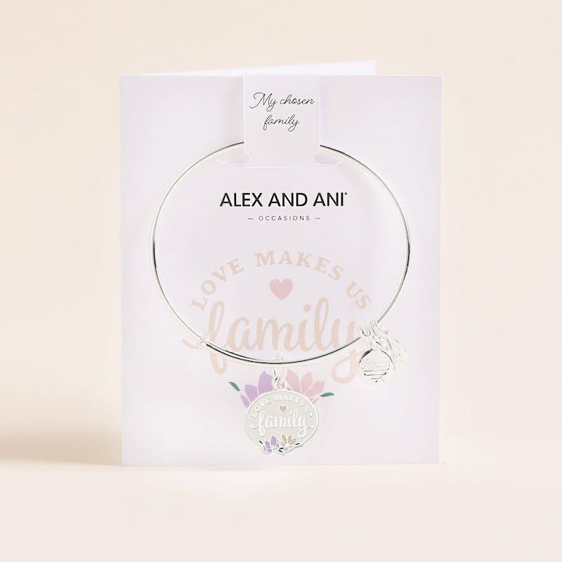 'Love Makes Us Family' Charm Bangle, Shiny Silver, Alex and Ani