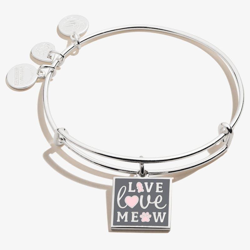 'Live, Love, Meow' Charm Bangle, Shiny Silver, Alex and Ani
