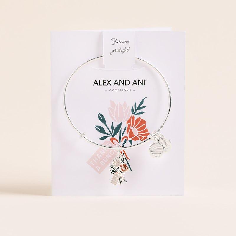 'Thanks A Bunch' Charm Bangle, Shiny Silver, Alex and Ani