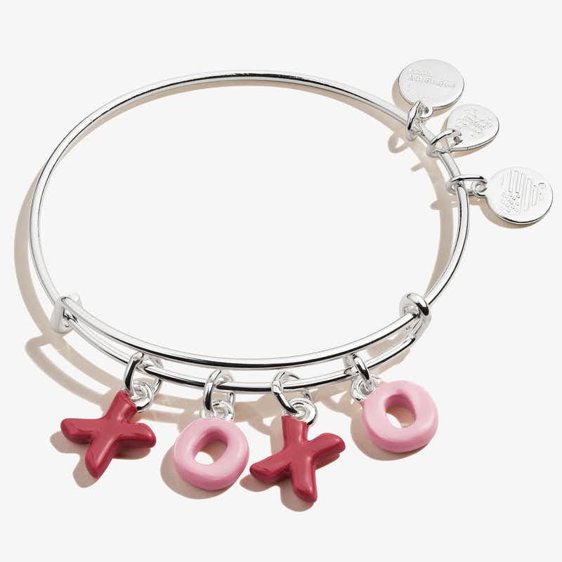 'XOXO' Charm Bangle, Shiny Silver, Alex and Ani