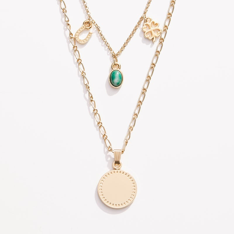 Engravable Luck + Prosperity Multi-Charm Layered Necklace