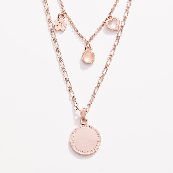 Engravable Joy + Love Multi-Charm Layered Necklace