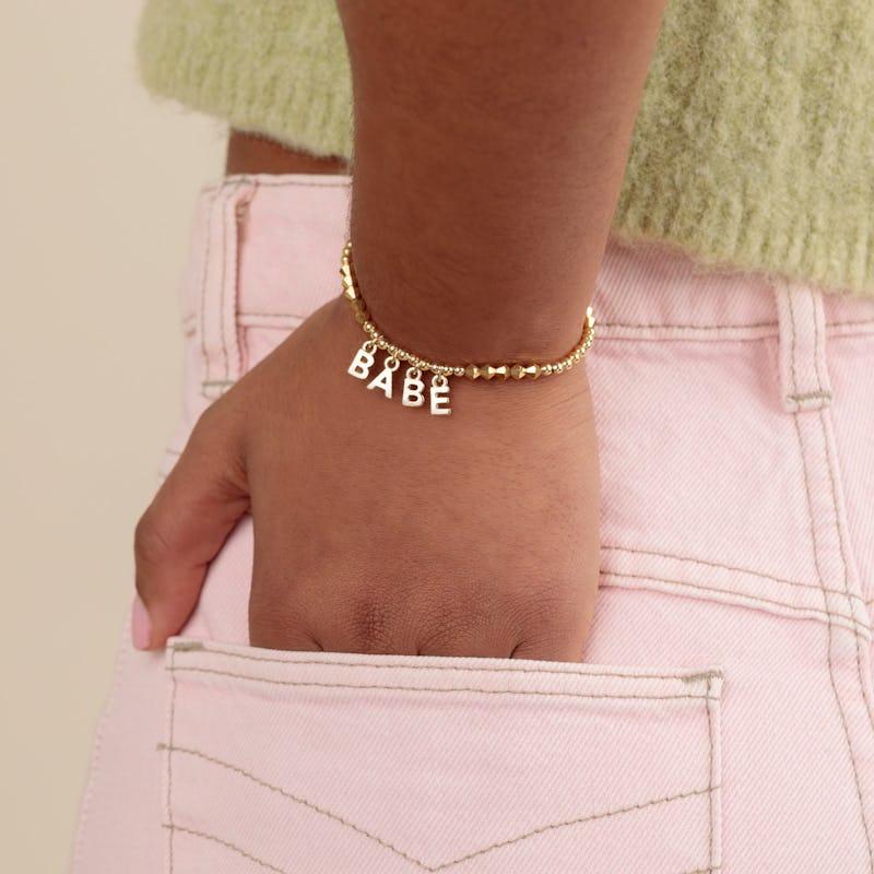 'Babe' Beaded Stretch Bracelet