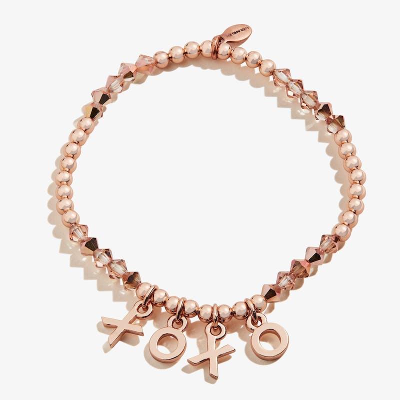 'XOXO' Beaded Stretch Bracelet, Shiny Rose Gold, Alex and Ani