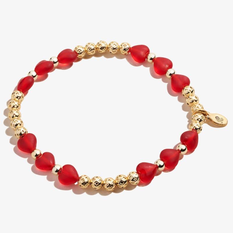 Red Crystal Heart Stretch Bracelet, Shiny Gold, Alex and Ani