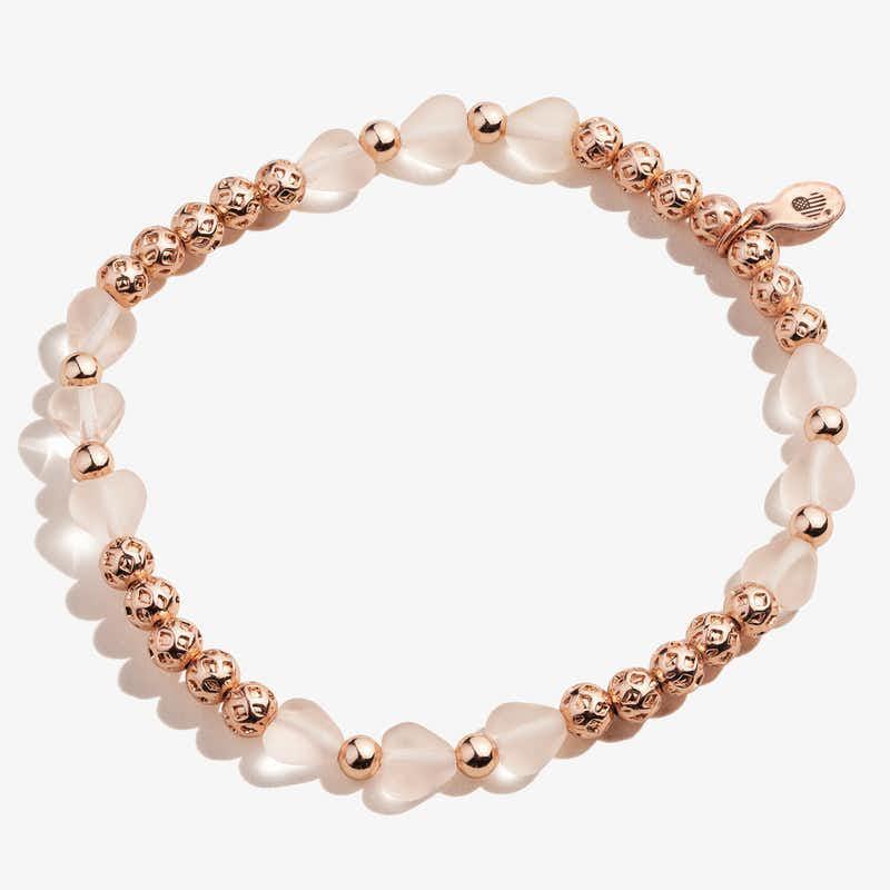 Crystal Heart Stretch Bracelet, Pink, Shiny Rose Gold, Alex and Ani