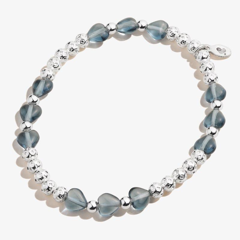 Blue Crystal Heart Stretch Bracelet, Shiny Silver, Alex and Ani