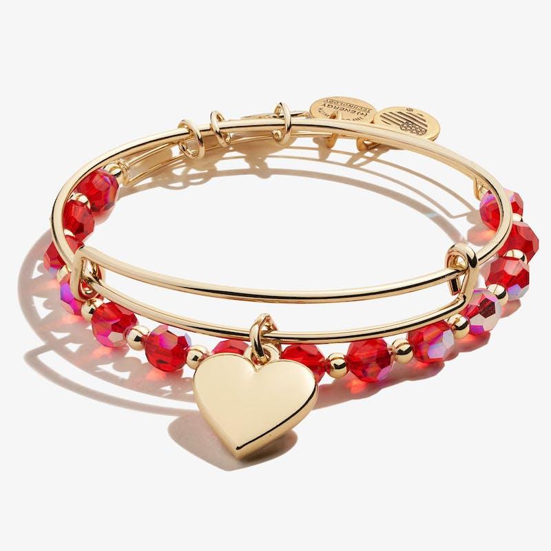 Heart Charm Bangle, Set of 2, Shiny Gold, Alex and Ani