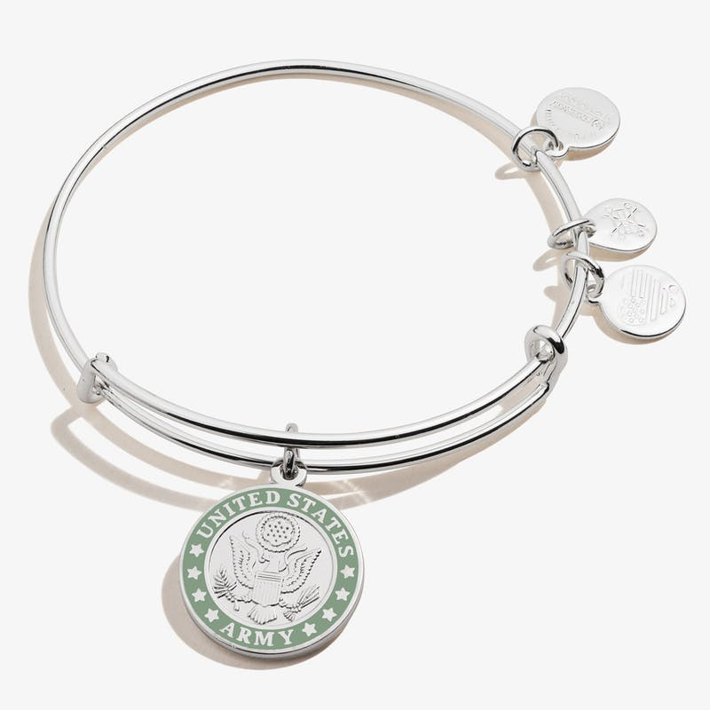 United States Army Charm Bangle, Shiny Silver, Alex and Ani