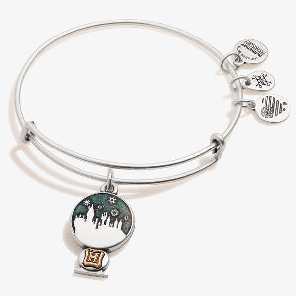 Harry Potter™ Hogwarts Snow Globe Charm Bangle, Rafaelian Silver, Alex and Ani