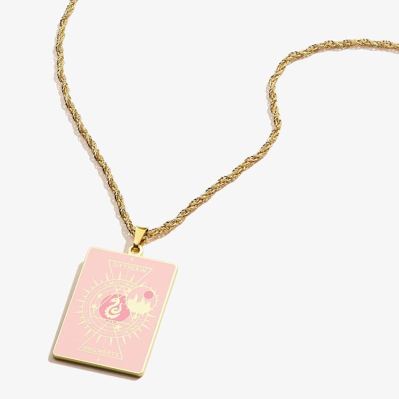 Harry Potter Hogwarts + Slytherin Charm Necklace, Shiny Gold, Alex and Ani