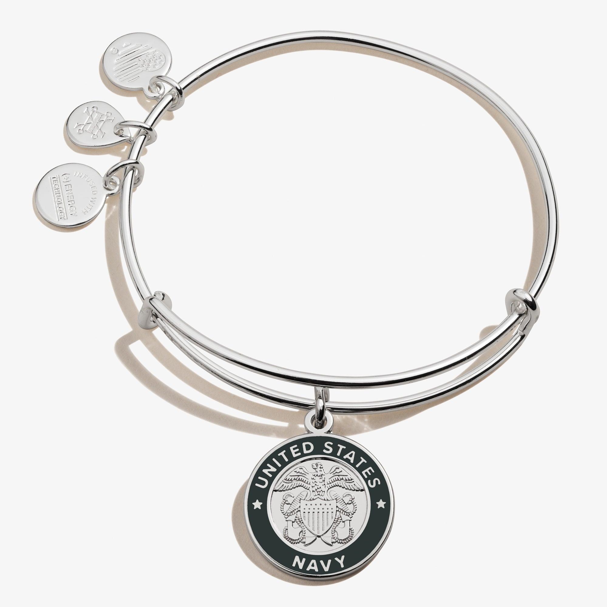 32 $ retraité Authentique Alex and Ani U.S Marine Russe Gold Charm Bracelet