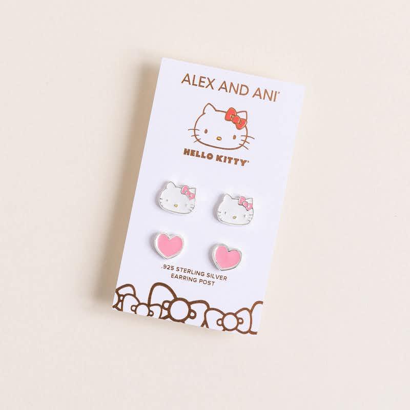 Hello Kitty + Heart Stud Earring Set, Pink