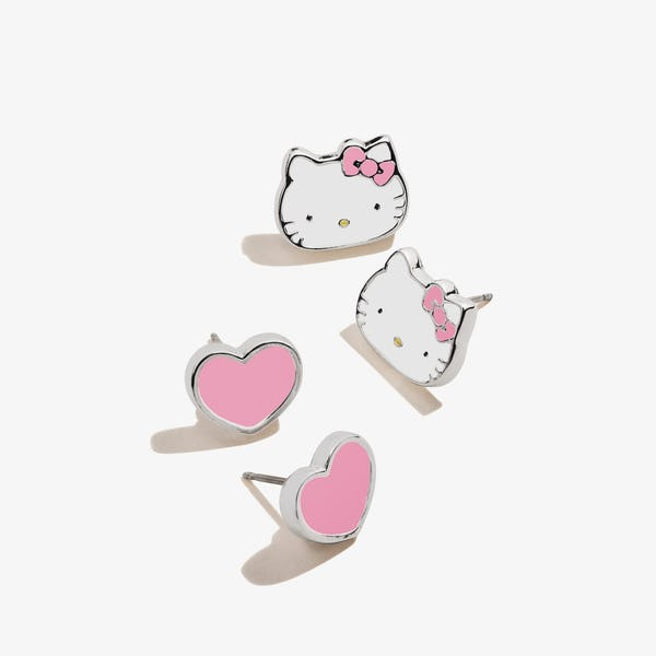 Pink Hello Kitty + Heart Stud Earring Set, Shiny Silver, Alex and Ani