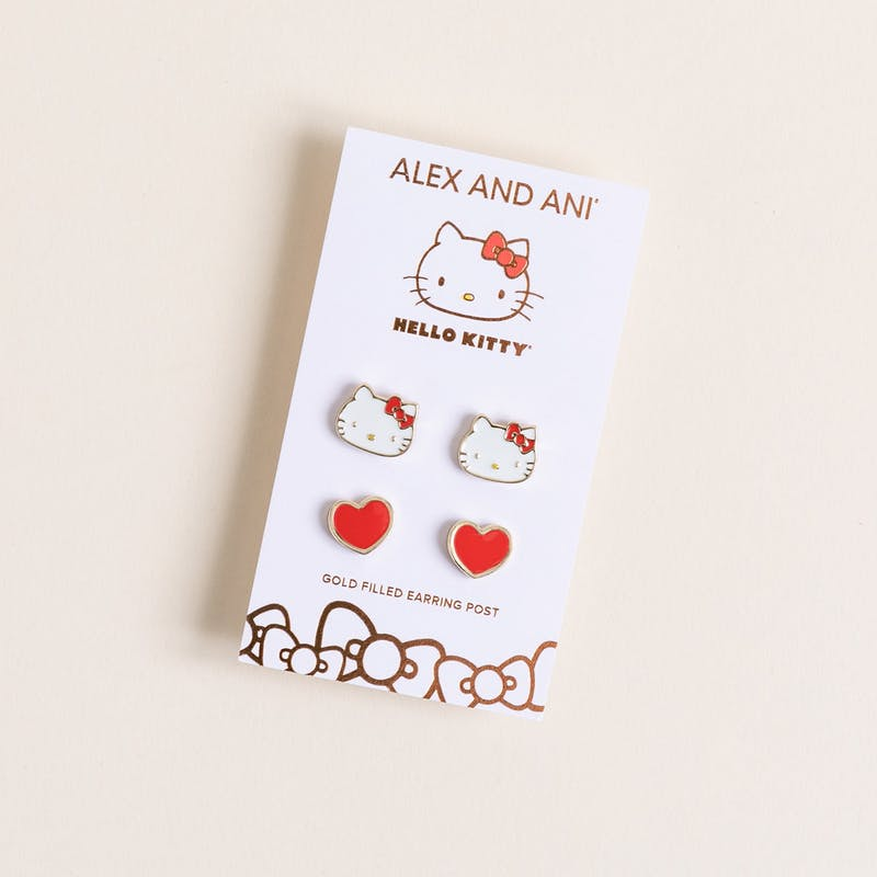 Hello Kitty + Heart Stud Earring Set, Red
