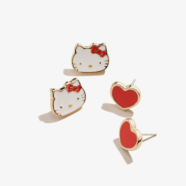 Red Hello Kitty + Heart Stud Earring Set, Shiny Gold, Alex and Ani