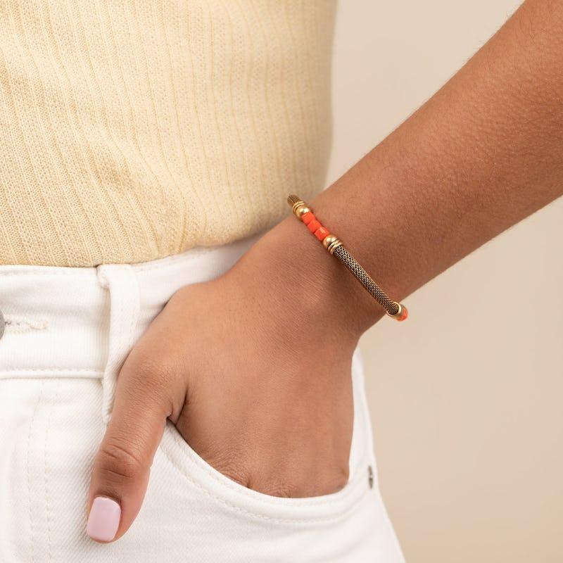 Antique Americana Mesh Cuff Bracelet, Red