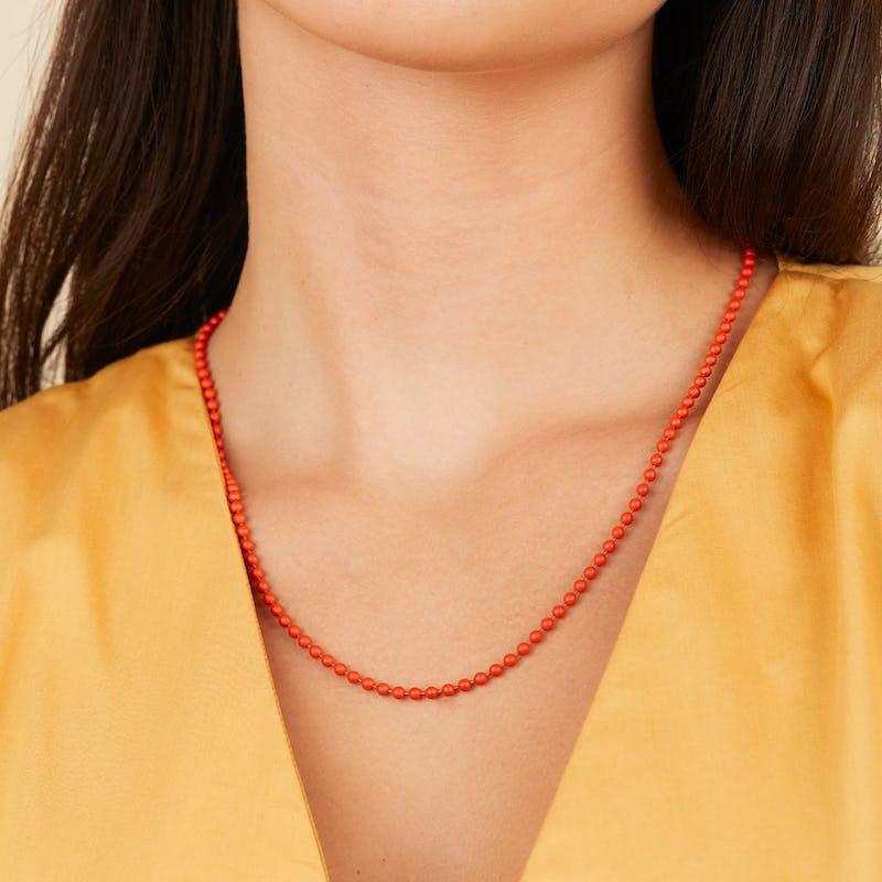 Ball Chain Necklace, Orange