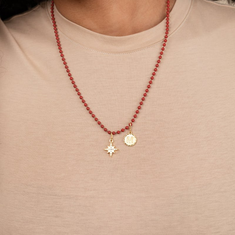 Ball Chain Necklace, Red