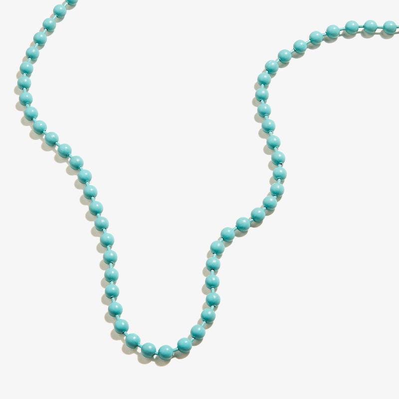 Ball Chain Necklace, Turquoise