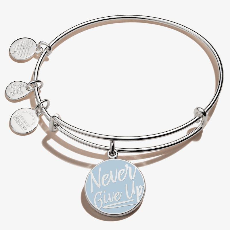 'Never Give Up' Charm Bangle, Shiny Silver, Alex and Ani