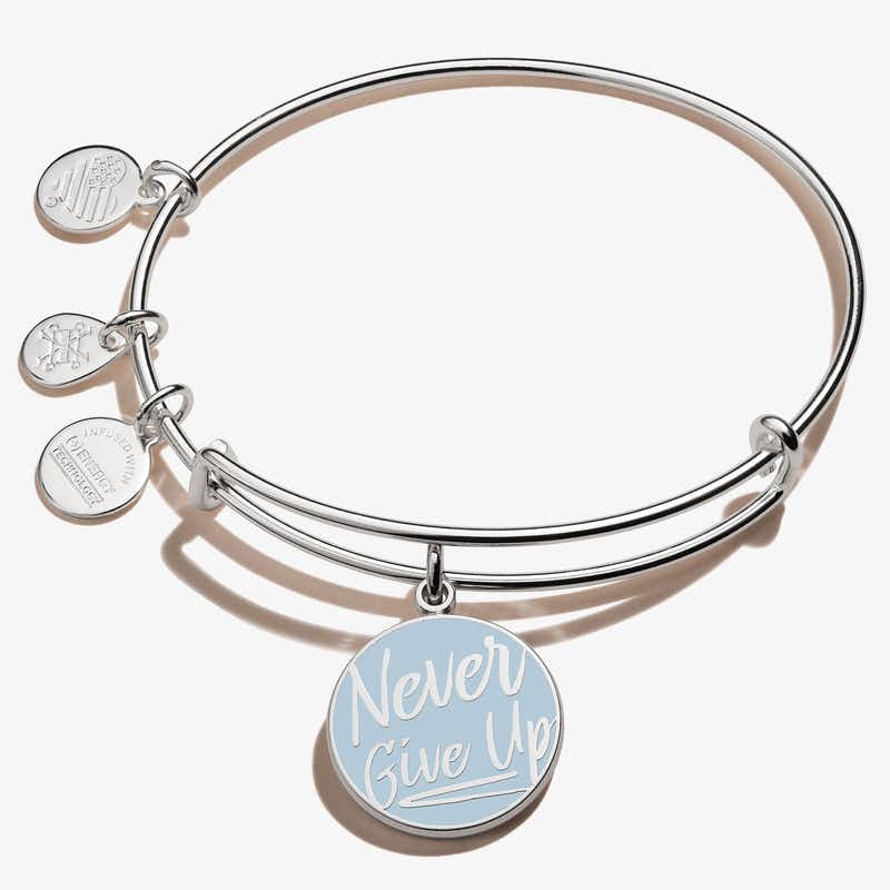 'Never Give Up' Charm Bangle, Shiny Silver, Alex and Ani