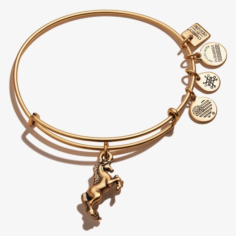 Unicorn Charm Bangle, Rafaelian Gold, Alex and Ani
